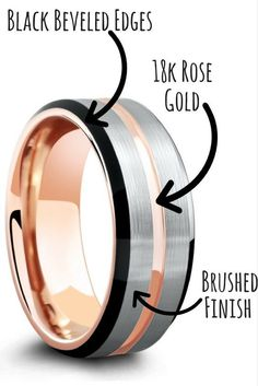 Finally, a unique mens wedding ring. Three tone tungsten wedding ring with 18k rose gold ,brushed silver and high polish beveled edges. I like the modern look of this wedding ring. #weddingring