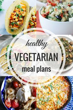 A healthy vegetarian meal plan complete with a shopping list for making weeknight eats a breeze. What's happening this weekend? We're up in Truckee/Tahoe for some trail traipsing and R… Healthy Vegetarian Meal Plan, Vegan Meal Plans, Vegetarian Recipes, Healthy Eating, Quinoa Salat, Lentil Salad, Veggie Meal Plan, Zucchini, Tacos