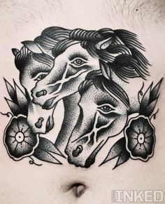 Here's a traditional Pharaoh's Horses tattoo by Mike Adams. Not crazy about the placement