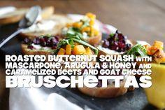 Roasted Butternut Squash, Arugula, Honey and Mascarpone Bruschetta and ...