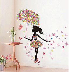 Butterfly Girl Removable Wall Art Sticker