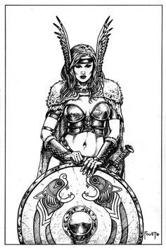 Viking, celtic Shield Maiden Tattoo Flash - gorgeous women with swords and shields. What more do you want?