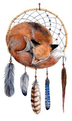 Fox Dreamcatcher Original Watercolor Painting winter by Goosi