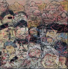 Stefan Buana: Heart-to-Heart Plenary #2 (Curhat Paripurna #2), 2014, Acrylic on Canvas, 100 x 100cm. Represented by Ode To Art. Stefan Buana depicts portraits in a unique style - his faces are deformed and less-than-perfect, thus communicating in a more intimate and personalized way with viewers.