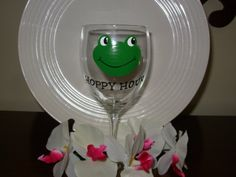 Frog  Wine Glass Handpainted Hoppy Hour by Kathy1910 on Etsy, $10.00
