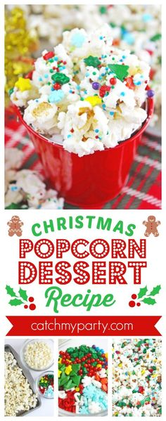 Ingredients: White Chocolate Chips Two Bags Popped Popcorn (we use homestyle) Christmas Sprinkles Optional: holiday M n' M's and other holiday c Christmas Popcorn, Christmas Sprinkles, Christmas Party Food, Christmas Desserts, Christmas Treats, Christmas Holidays, Christmas 2019, Xmas, Holiday Recipes