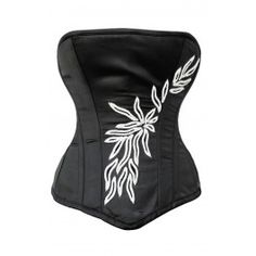 Black Modest Cut Corset with Embroidery Design