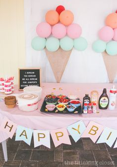 Ice Cream Themed Birthday Party: DIY Decor Ideas - the thinking closet - - DIY party ideas from an Ice Cream Themed Birthday Party you can pull of at the last minute: ballon backdrop, lawn decor, favors, & letter board quotes! Girl Birthday Themes, 4th Birthday Parties, Birthday Celebration, Care Bear Birthday Party Ideas, 2nd Birthday Party For Girl, 1st Birthday Party Favors, Cute Birthday Ideas, Happy Birthday, Twin Birthday