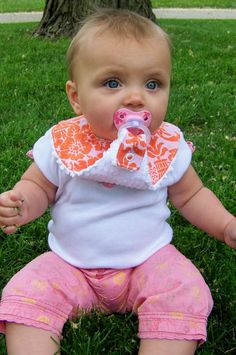 Pacifier bib http://www.youtube.com/watch?v=AyotSn_d5Mg.....Can't find pattern or instructions for this bib, but I bet I can figure it out. Would love to make some for new grandson.