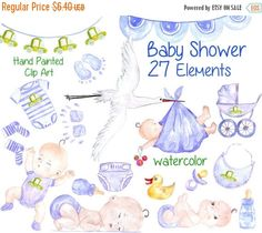 "Watercolor baby boy clipart: BABY SHOWER CLIPART New Baby Girl Clipart Pink Baby Shower Clip Art Stork Baby Girl kids clipart its a girl WHAT YOU GET: - 27 hand painted elements in PNG (transparent background) in high quality 300dpi resolution. approx size 3- 12 You can use: - For personal or non-profit use - For Small Commercial Use you have to give credit to me vivastarkids. Credit must be in your listing description by stating: Illustration Art by vivastarkids.etsy.com."" For commers..."