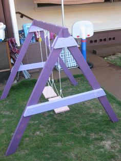 DIY Children's Swing Here is a simple and fairly cheap small swing for little toddlers under Kids Indoor Playground, Playground Design, Children Playground, Playground Ideas, Small Swing Sets, Childrens Swings, Swings For Kids, Diy Outdoor Toys, Outdoor Play