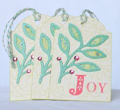 Christmas Tag Joy with Leaf Design and Bakers Twine Green Pink and Cream Holiday Tag. $3.50, via Etsy.