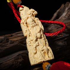 Chinese Car Pendant Boxwood Carved Hanging God of Longevity Bless Long-lived