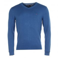 Pull col v Tommy Hilfiger en coton bleu pacific