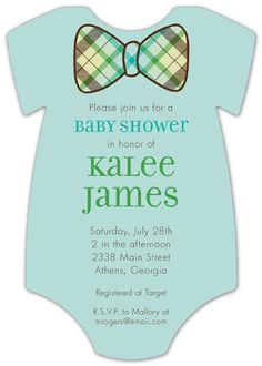 Plaid Bowtie Onesie Baby Shower Invitation.