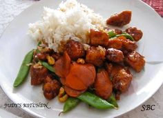 Kung Pao Chicken Spicy chicken with peanuts, similar to what is served in Chinese restaurants. I love this food, it is a favorite of mine.  Ingredients 1 pound skinless, boneless chicken breast halves - cut into chunks 2 tablespoons white wine or champagne 2 tablespoons soy sauce 2 tablespoons sesame oil, divided 2 tablespoons cornstarch, dissolved in 2 tablespoons water 1 ounce hot chile paste 1 teaspoon distilled white vinegar 2 teaspoons brown sugar 1 small bag of snow peas (use how much…