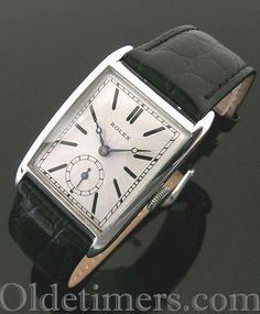 A large silver rectangular vintage Rolex watch, 1927