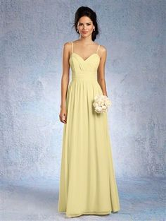 Alfred Angelo Bridesmaids Style #7323L chiffon, ruched, spaghetti straps, floor length
