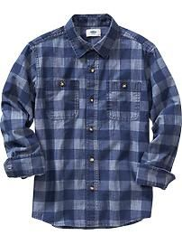Boys Buffalo-Plaid Chambray Shirts
