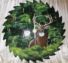 Hey, I found this really awesome Etsy listing at https://www.etsy.com/listing/213521205/hand-painted-saw-blade-clock-whitetail