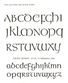 Book of Kells Letter Forms Hand Lettering Alphabet, Calligraphy Letters, Pencil Calligraphy, Book Of Kells, Creative Lettering, Lettering Styles, Gaelic Font, Irish Font, Capital Fonts