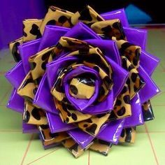 duct tape flower pen - leopard and purple