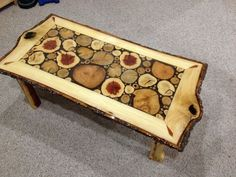 Log Slice Coffee Table with Sassafras White by LiveEdgeWoodcrafts, $1500.00: