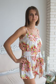 1e621d266d81  35 Belted Slip Style Bridesmaids Rompers in Floral Posy Pattern Bridesmaid  Rompers