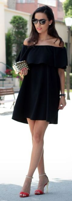 #summer #stylish #outfits |Off The Shoulder LBD                                                                             Source
