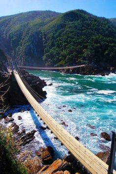 Storms River Suspension Bridge in Tsitsikamma National Park, South Africa Places Around The World, The Places Youll Go, Oh The Places You'll Go, Places To Visit, Around The Worlds, Dream Vacations, Vacation Spots, Vacation Rentals, Vacation Travel