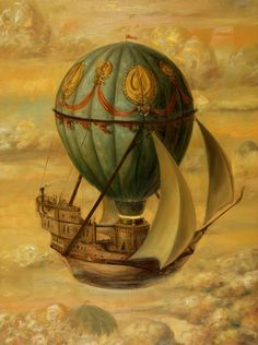 sails, colorful balloon and a clipper ship...what more could you ask
