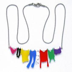 necklace - laundry hanging on clothesline. $28.00, via Etsy.