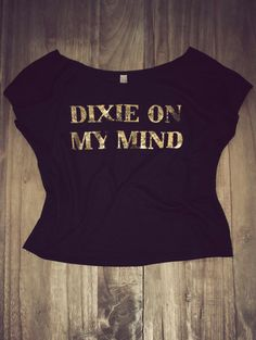 Dixie on my mind off shoulder crop top. Southern inspired tees and tanks. #CharlieSouthern #DixieLove