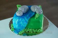 Hippo cake, hroší dort Hippo Cake, Four Square, Desserts, Food, Tailgate Desserts, Deserts, Essen, Postres, Meals