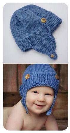 Baby Hat Knitting Pattern, Baby Hats Knitting, Knitted Hats, Knitting Blogs, Knitting For Beginners, Knitting Ideas, Wright Flyer, Aviator Hat, Baby Sweaters