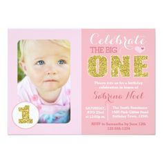 Girl's 1st Birthday Party Invitations Pink and Gold First Birthday Party Invitation