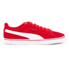Puma 1948 Sneakers ($86) ❤ liked on Polyvore featuring shoes, sneakers, red, red trainer, puma trainers, red sneakers, puma shoes and puma sneakers