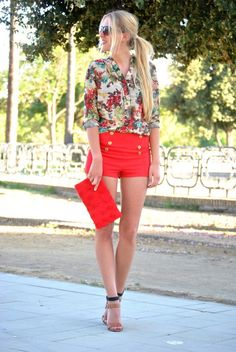 Bright shorts and floral.