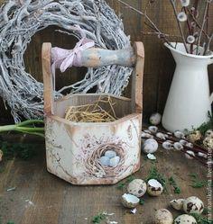 """Easter"" корзинка - голубой,коричневый,корзинка,Пасха,пасхальный сувенир"
