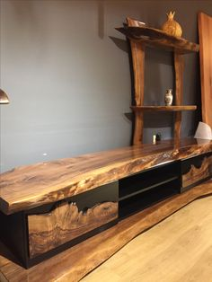 Wooden TV Unit - Wohnzimmer - Welcome Epoxy Hall Furniture, Live Edge Furniture, Resin Furniture, Timber Furniture, Diy Furniture Projects, Wood Projects, House Furniture, Rustic Tv Unit, Tv Wall Decor