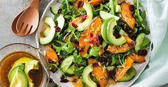 Sticky pumpkin, cranberry and rocket salad main image Meat Recipes, Salad Recipes, Vegetarian Recipes, Cooking Recipes, Healthy Recipes, Savoury Recipes, Vegan Vegetarian, Dinner Recipes, Main Dish Salads