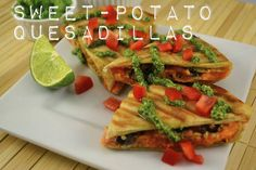 Sweet Potato Quesadillas with Quinoa, Black Beans, Cilantro, Red Pepper and Pesto