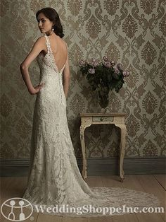 Allure Bridal Gown 8856 - Slim mermaid, lace design with v-neckline and back.