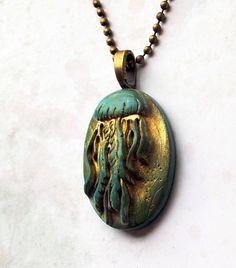 Blue Green Jellyfish pendant blue green gold by studiotambria, $15.00
