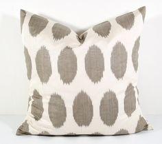 15x15 ikat pillow cover, brown polka dot, pillow cover, cushion case, pillowcase, ikat, throw pillow, accent pillow, brown pillow, dot ikat