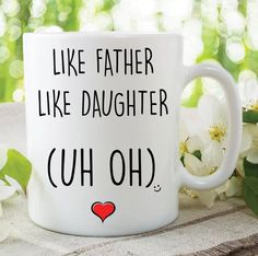 Items similar to Funny Mugs Like Father Like Daughter Birthday Christmas Gifts Present Father's Day Adult humour Banter Jokes Dad Mug Daughter Mug on Etsy Like Father Like Daughter, Dad Daughter, Daughter Birthday, Rude Mugs, Funny Mugs, Christmas Mugs, Christmas Humor, Couple Mugs, Funny Jokes To Tell