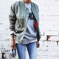 Casual jacket over a sweatshirt and jeans