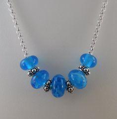 Handmade Aqua Lampwork Beads on Silver Plated by GlassyFields, $25.00