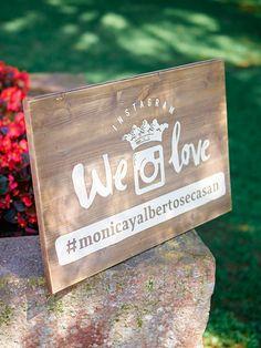 cartel madera instagram boda www.bodasdecuento.com