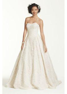 Oleg Cassini Beaded Lace Tulle Wedding Dress CWG635